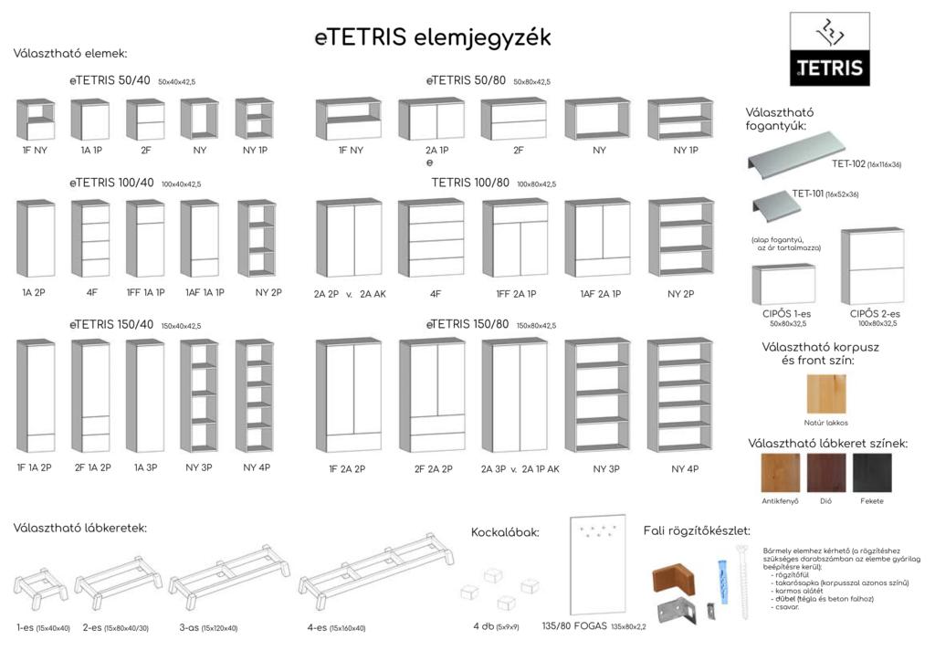 eTETRIS elemjegyzék natúr fenyő